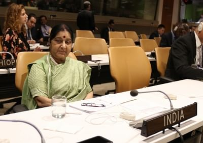 United Nations: External Affairs Minister Sushma Swaraj during Non-Aligned Movement (NAM) Ministerial Conference on Palestine, at United Nations, on Sept 26, 2018. (Photo: Mohammed Jaffer/IANS)