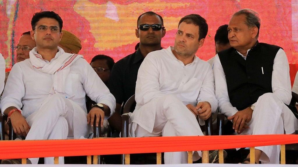 Congress leaders Sachin Pilot, Rahul Gandhi and Ashok Gehlot.