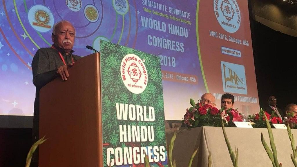 RSS chief Mohan Bhagwat addressing the World Hindu Congress in Chicago, USA.