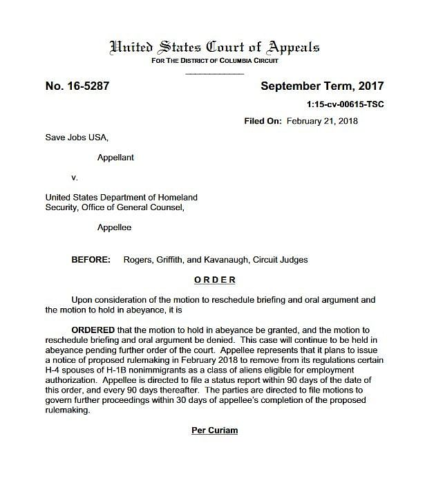 One of the lawsuits against the H-4 EAD rule filed by Save Jobs USA.