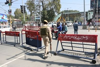 Srinagar: Security beefed up as authorities in Jammu and Kashmir imposed restrictions in Srinagar city to prevent a Muharram procession, on Sept 19, 2018. These restrictions are preventive in nature and have been imposed to maintain law and order. Authorities have not allowed any 8th and 10th Muharram processions in Srinagar since 1989. Muharram processions are taken out by Shia Muslims throughout the world to commemorate the martyrdom of Imam Hussain, grandson of the Prophet Mohammad. (Photo: I