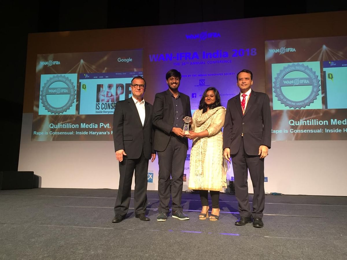 The Quint's 'Talking Stalking' Wins Big At WAN-IFRA Awards