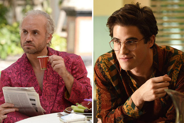 Edgar Ramirez and Darren Criss in stills from <i>The Assassination of Gianni Versace</i>.