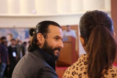 "Mumbai: Actors Saif Ali Khan at the trailer launch of upcoming film ""Baazar"" at Bombay Stock Exchange in Mumbai on Sept 25, 2018. (Photo: IANS)"