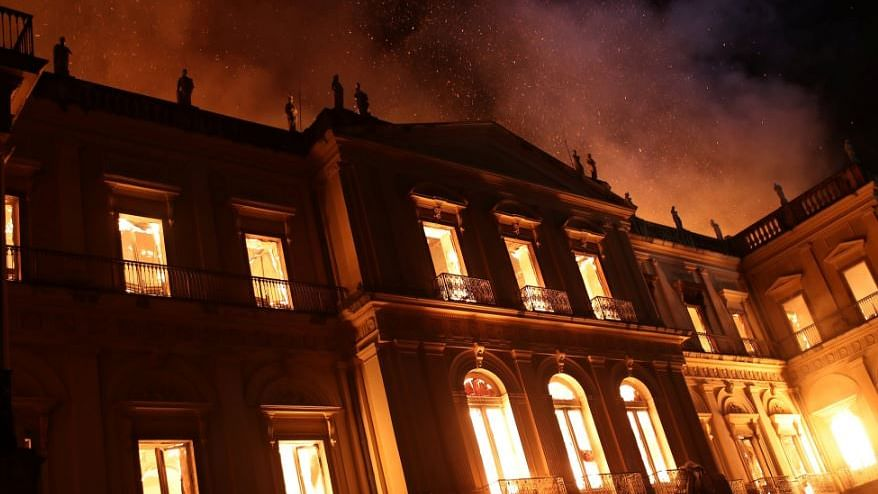 Brazil's  National Museum was hit by a massive fire on Sunday night.
