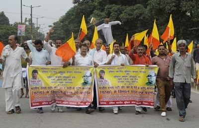 Activists of Akhil Bhartiya Bhumihar Brahmin Samaj stage a demonstration. Image used for representation.