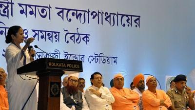 Kolkata: West Bengal Chief Minister Mamata Banerjee addresses during a meeting ahead of Durga Puja in Kolkata, on Sept 10, 2018. Photo used for representation.