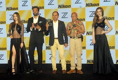 """New Delhi: Photographer Atul Kasbekar, Nikon India Managing Director Sajjan Kumar and wildlife photographer Akash Das at the launch of Nikon Z7 and Z6 full-frame mirrorless cameras, in New Delhi on Sept 19, 2018. The company also launched three """"NIKKOR Z"""" lenses with a new larger-diametre mount in the country. (Photo: PS Mitra/IANS)"""