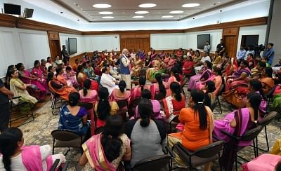 New Delhi: Prime Minister Narendra Modi interacts with Anganwadi workers from across the country, in New Delhi on Sept 19, 2018. (Photo: IANS/PIB)