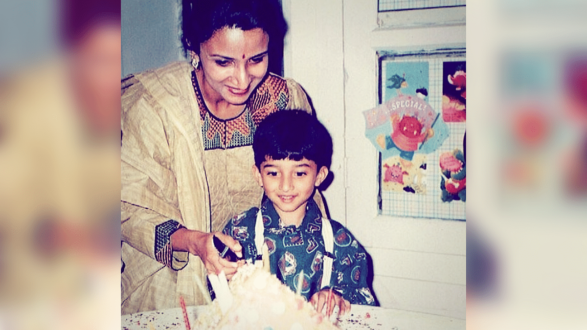 Lina with her son Adi on his birthday.