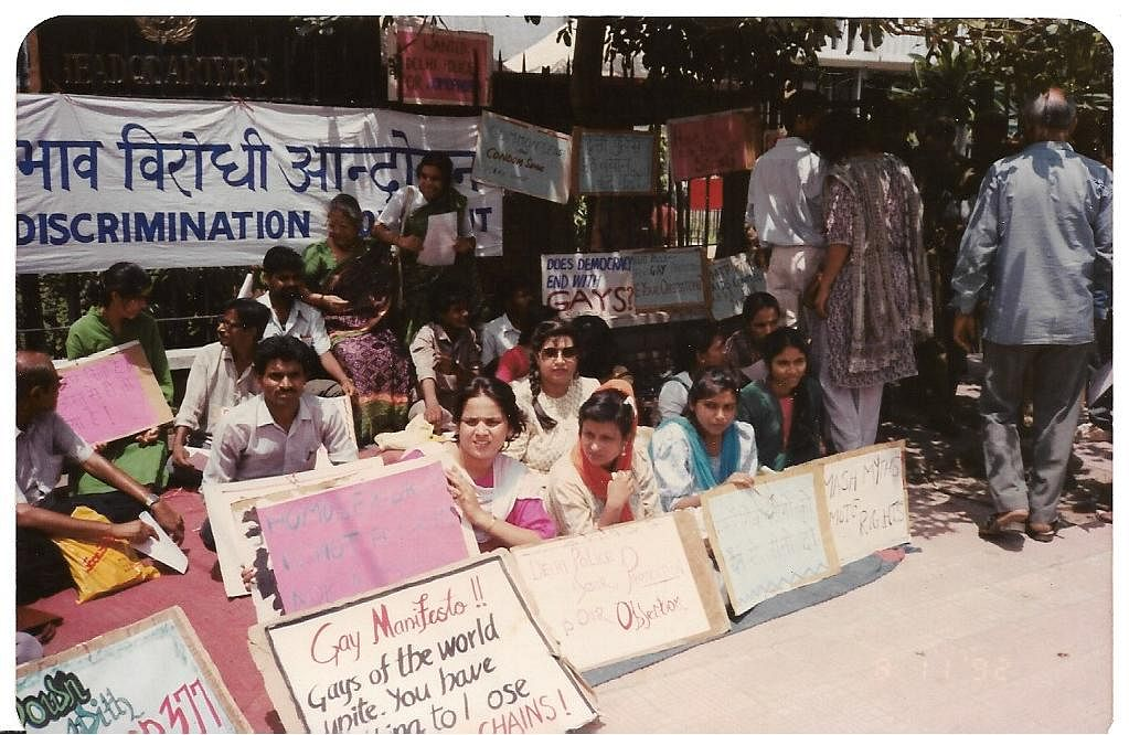 First ever gay rights protest organised by ABVA at police headquarters in New Delhi on 11 August 1992.