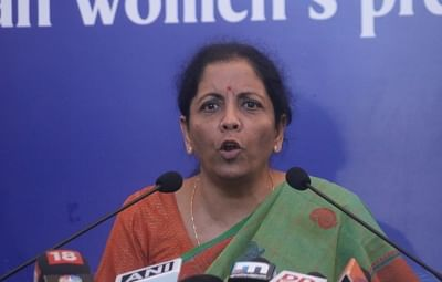 New Delhi: Defence Minister Nirmala Sitharaman addresses a press conference at the Indian Women