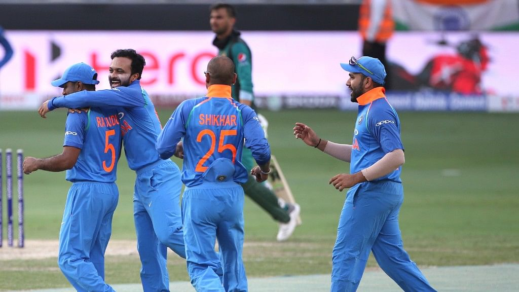 Bhuvneshwar Kumar and part-time off-spinner Kedar Jadhav enabled India to restrict Pakistan to a paltry 162.
