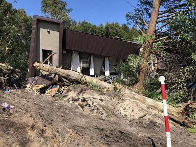 HOKKAIDO, Sept. 6, 2018 (Xinhua) -- Photo taken on Sept. 6, 2018 shows a damaged house after an earthquake in the town of Atsuma, Hokkaido prefecture, Japan. Nine people were confirmed dead and 300 people were injured after a strong earthquake rocking Japan