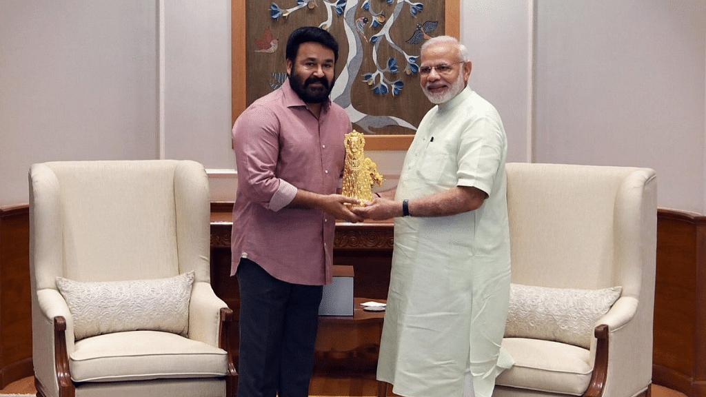 Malayalam superstar Mohanlal and PM Narendra Modi.