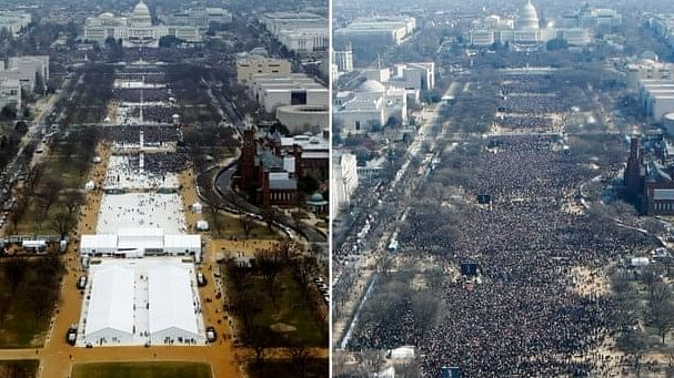 Photos comparing the inauguration of Donald Trump (Left) and former President Barack Obama (Right).