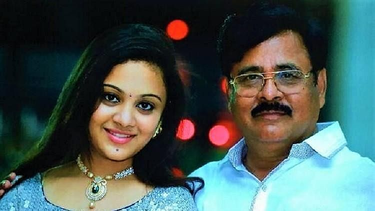 Amrutha Varshini with her father Maruthi Rao, the prime accused in the murder case.