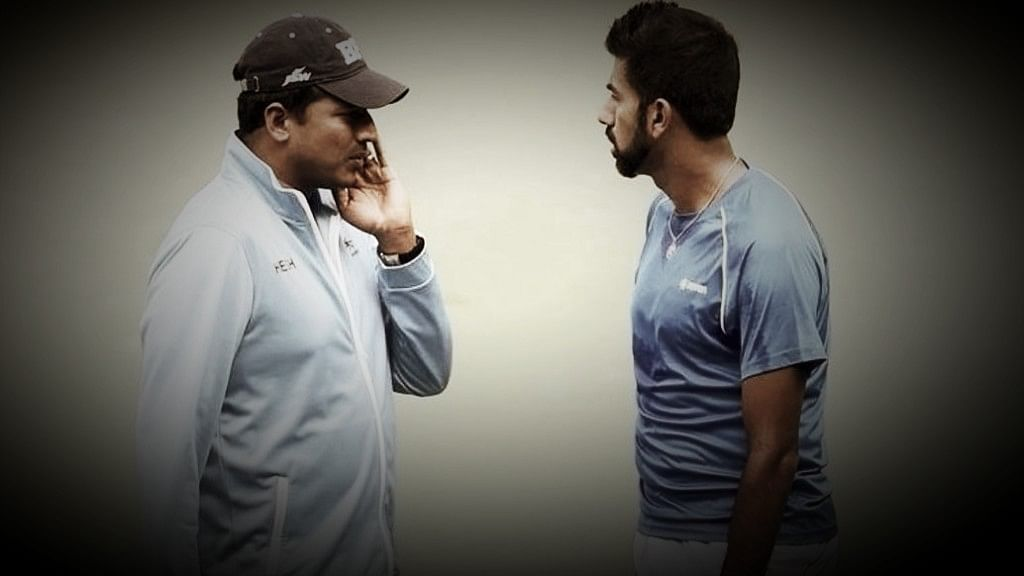 File image of India's non-playing Davis Cup captain Mahesh Bhupati (left) with Rohan Bopanna.