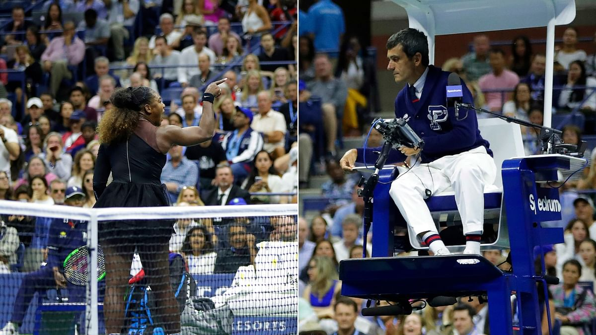 Serena Williams arguing with the umpire Carlos Ramos during the US Open Women's final against Japan's Naomi Osaka at the Arthur Ashe Stadium on Saturday.