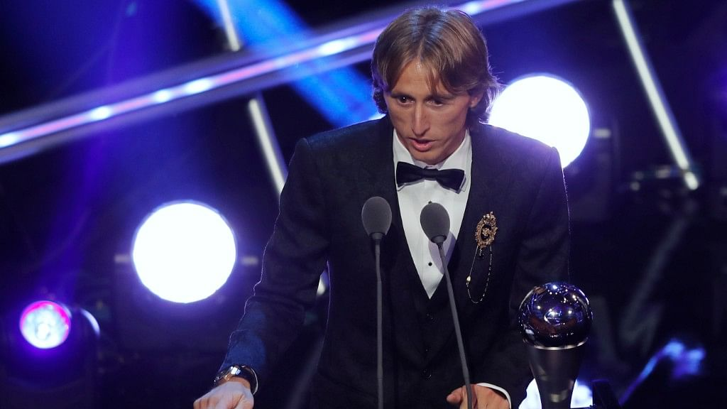 Luka Modric after receiving the FIFA Best Men's Player of the Year Award.