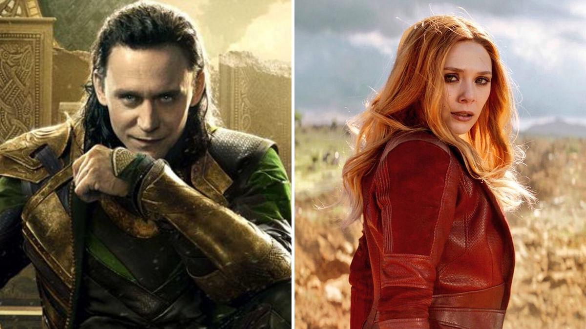 Tom Hiddleston and Elizabeth Olsen as Loki and Scarlett Witch.