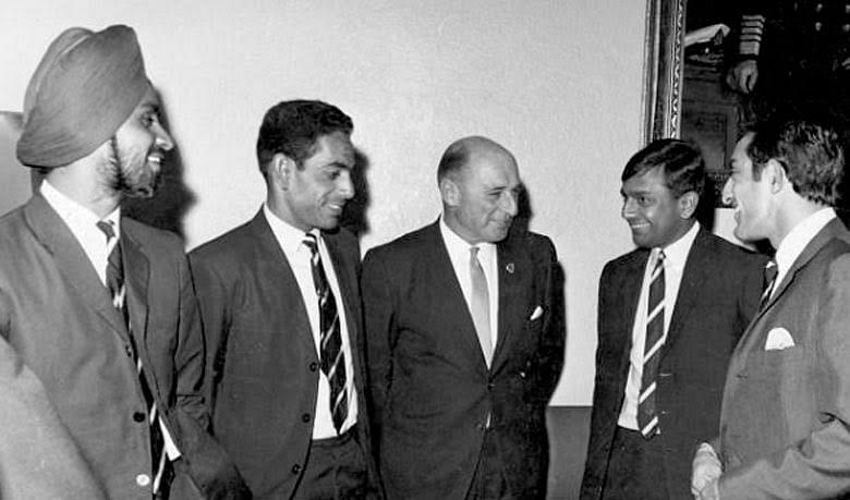 Bishan Singh Bedi (left), Abid Ali, Mayor of Melbourne RT Talbot, Erapalli Prasanna and skipper Tiger Pataudi during India's tour of Australia in 1967-68.