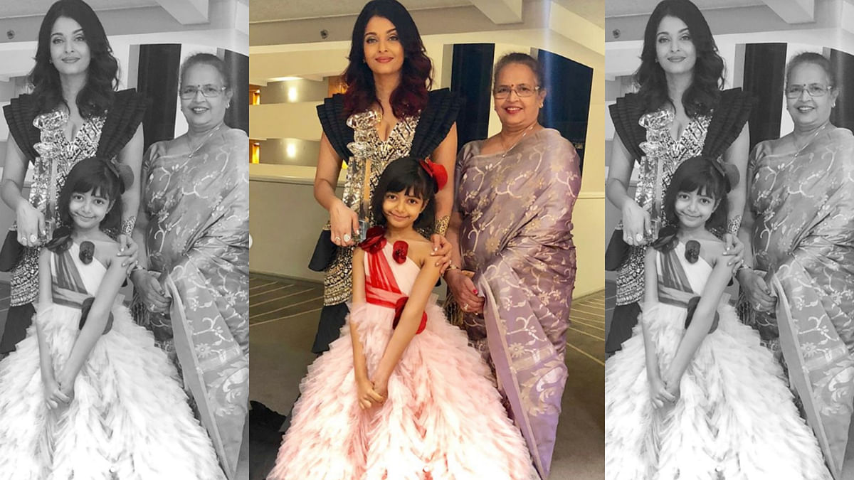 Aishwarya Rai Bachchan with daughter Aaradhya and mom Brinda Rai.