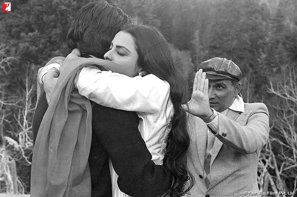 Yash Chopra with Amitabh Bachchan and Rekha on the sets of <i>Silsila.</i>