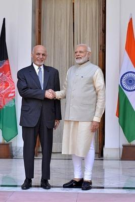New Delhi: Prime Minister Narendra Modi receives Afghanistan President Mohammad Ashraf Ghani at the Hyderabad House ahead of bilateral talks, in New Delhi on Sept 19, 2018. (Photo: IANS)