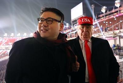 Costume players dressed as North Korean leader Kim Jong-un and U.S. President Donald Trump. (File Photo: IANS)
