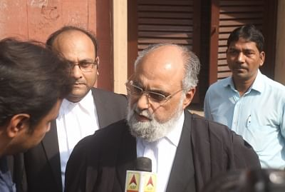 New Delhi: Senior advocate Shakeel Ahmed Syed, representing Sunni Waqf Board, talks to the media outside the Supreme Court, in New Delhi on Sept 27, 2018. The Supreme Court on Thursday rejected a plea for referring the Ramjanambhoomi-Babri Masjid dispute to a larger Constitutional Bench and decided that a newly set up three-judge bench will hear the case from October 29. (Photo: IANS)