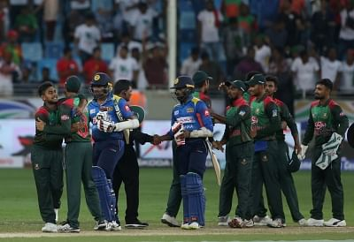 Dubai: Bangladesh cricketers celebrate after winning the Asia Cup 2018 Group B match against Sri Lanka at Dubai International Cricket Stadium in Dubai, UAE on Sept 15, 2018. (Photo: Surjeet Yadav/IANS)