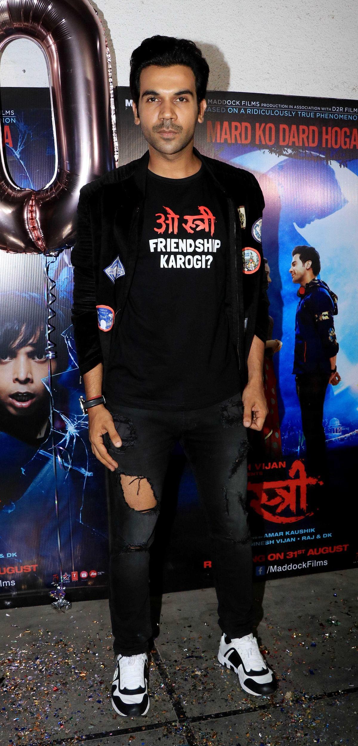 Rajkummar looks dashing in an all-black ensemble.