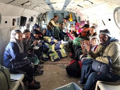 Lahaul: Rescued tourists onboard an Indian Air Force (IAF) chopper, in Himachal Pradesh