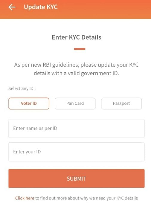 Freecharge doesn't even let you submit driving licence for KYC.