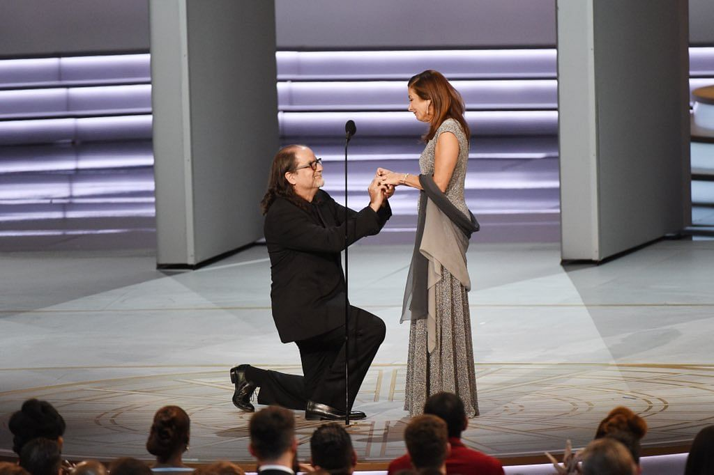 Glenn Weiss proposes to Jan Svendsen on stage.