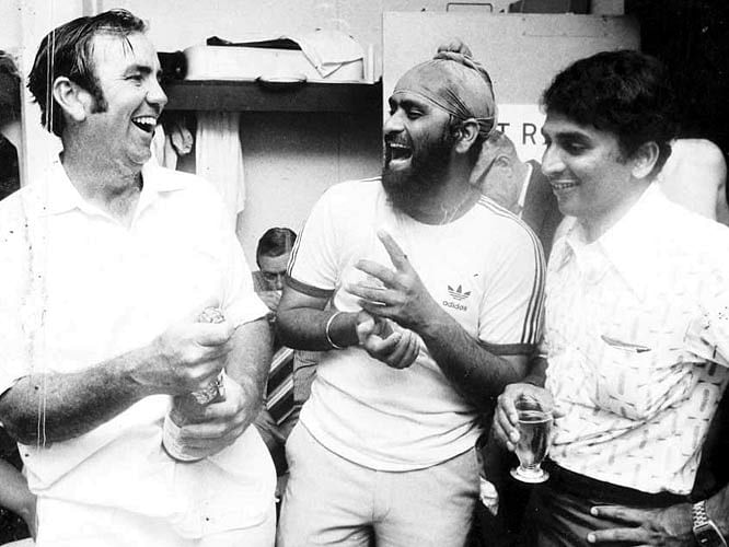 Gavaskar and Bishan Singh Bedi with Bob Simpson after India's 3-2 Test series loss in 1978.