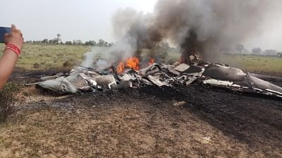 The debris of an Indian Air Force aircraft that crashed near Jodhpur on Sept. 4, 2018. (Photo: IANS)