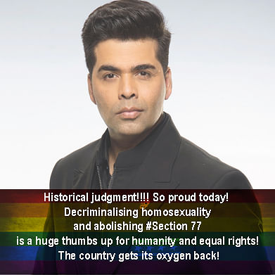 Karan  Johar welcomed the verdict on social media.
