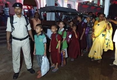Agartala: A group of 18 girls who were rescued by the Bihar Police from a Buddhist School and Meditation Centre in Bodh Gaya; arrive in Agartala on Sept 14, 2018. According to the police, the girls, aged between 12 to 14 years, were sent to the school by their parents six months ago. Among the 18 children, 15 are from Tripura, two from Arunachal Pradesh and one from neighbouring Assam. According to Tripura Child Rights Commission Chairperson Nilima Ghosh,the girls who reached Tripura on Friday n