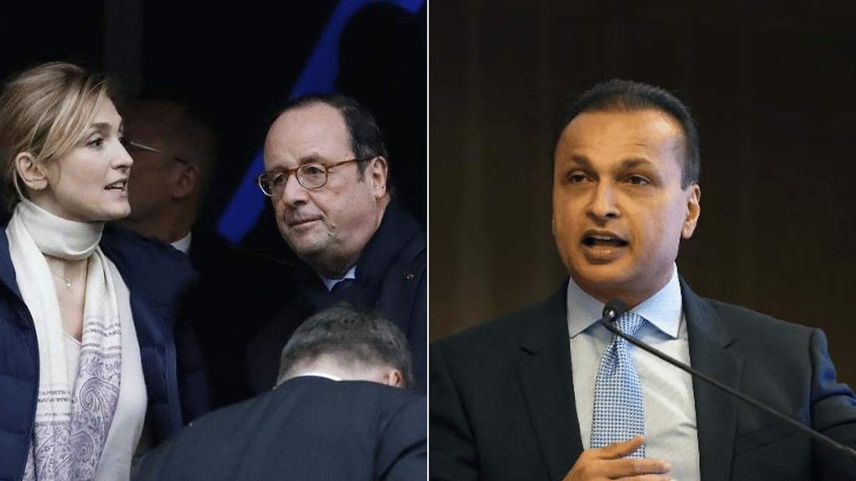 Former French President Francis Hollande (L) and Reliance Group Chairman Anil Ambani (R).