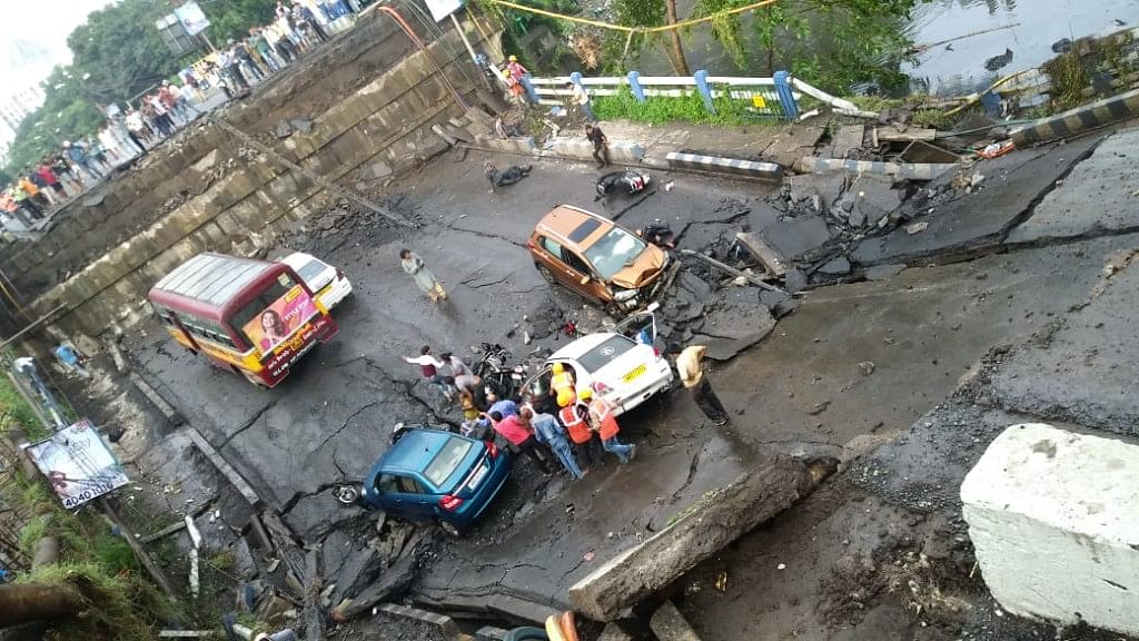 A portion of Kolkata's Majerhat flyover collapsed on Tuesday evening.