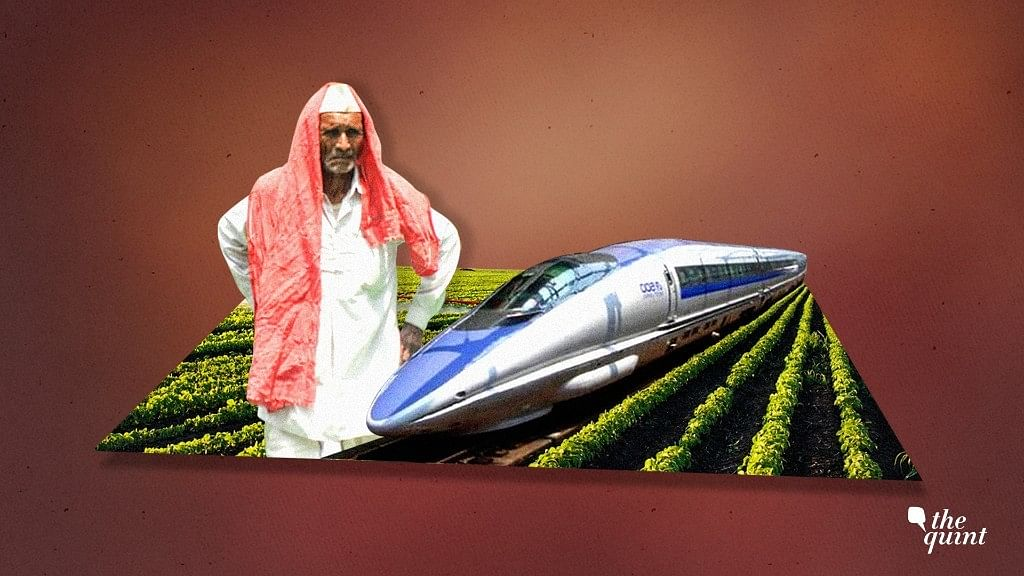 Farmers are protesting against land acquisitions for the bullet train.