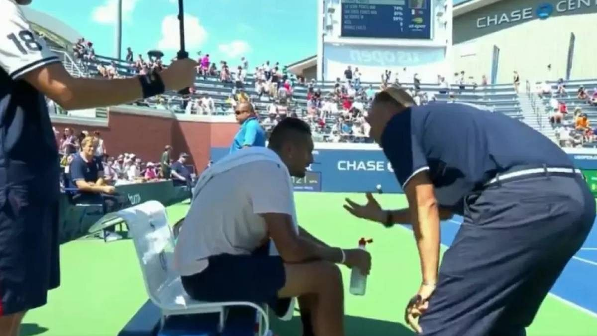Mohamed Lahyani got off his chair and calm Nick Kyrgios down during a US Open match.