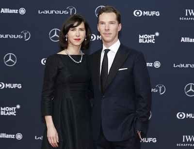 Actor Benedict Cumberbatch and his wife Sophie Hunter. (Xinhua/Ye Pingfan/IANS)
