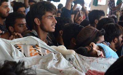 Srinagar: The body of Fayaz Ahmad Wani, who succumbed to his injuries sustained in Pulwama clashes on Sept 3, 2018. Clashes erupted between security forces and stone-pelters on Monday in Jammu and Kashmir