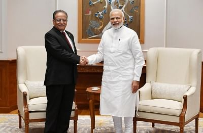 New Delhi: Former Nepal Prime Minister and Nepal Communist Party Co-Chairman Pushpa Kamal Dahal 'Prachanda' calls on Prime Minister Narendra Modi, in New Delhi on Sept 8, 2018. (Photo: IANS/PIB)
