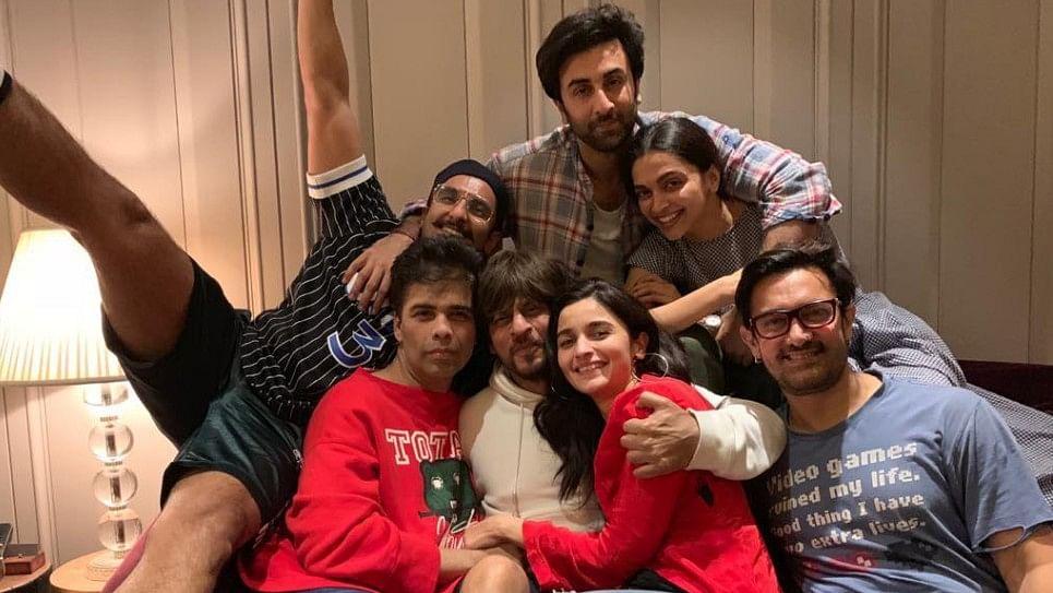 Ranveer Singh, Karan Johar, Ranbir Kapoor, Deepika Padukone, Shah Rukh Khan, Alia Bhatt and Aamir Khan.