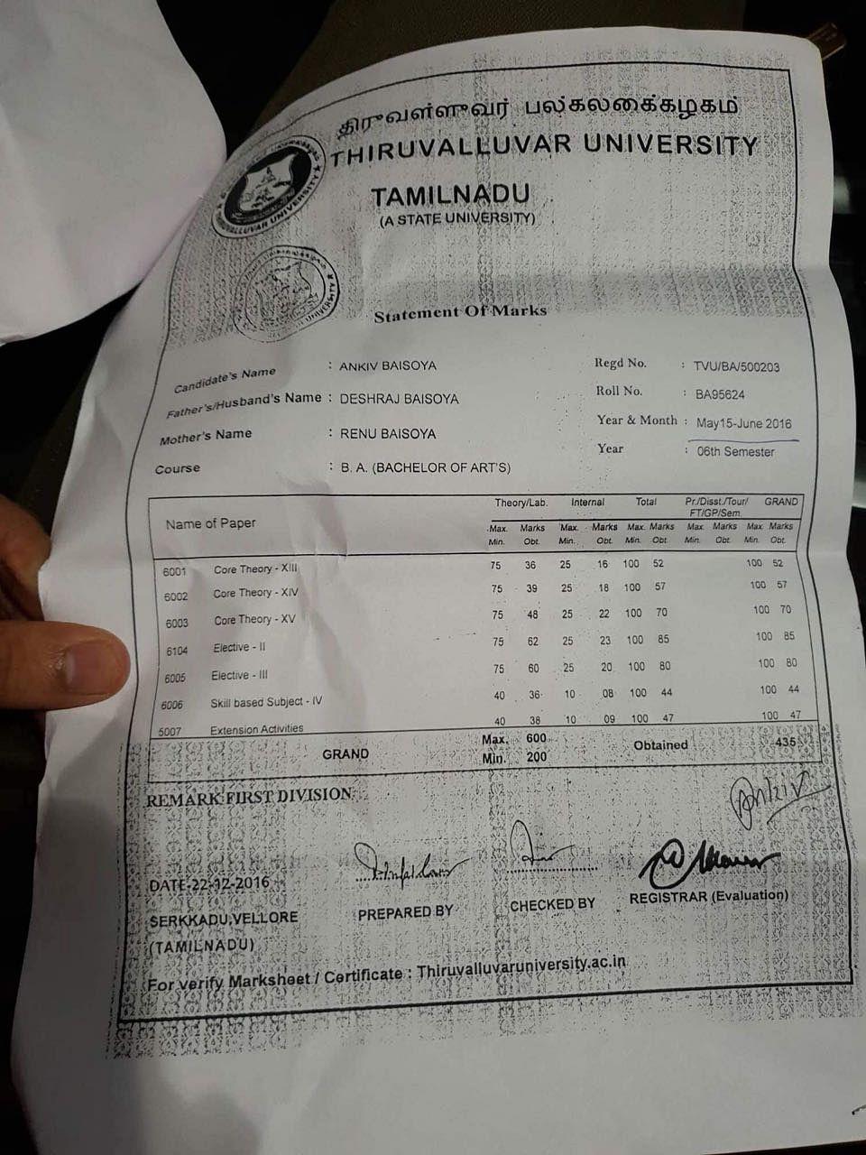 Ankiv Baisoya's marksheet in possession of NSUI.