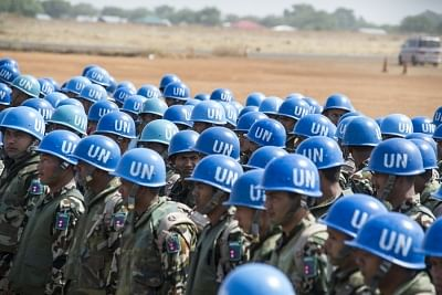 A file photo of Nepalese peacekeepers deployed with the United Nations Mission in South Sudan. (Photo: UN)